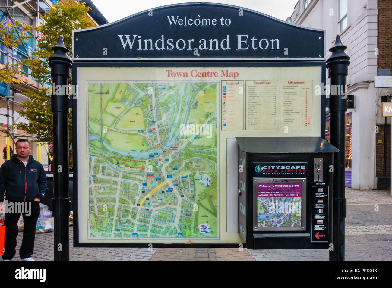 A map of Windsor and Eton town centre in Peascod Street, Windsor, UK. - Stock Image