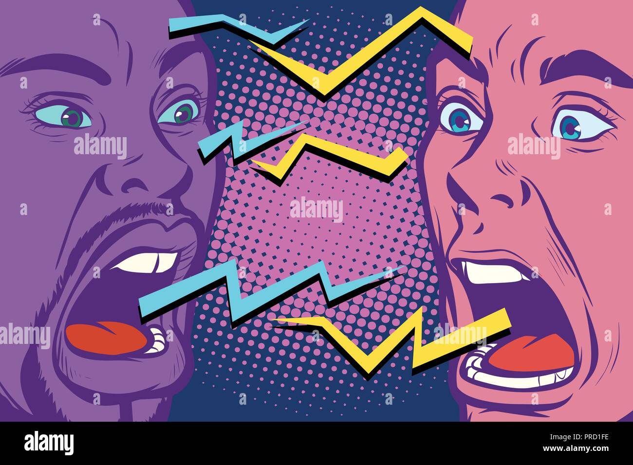 conflict. lightnings. two people are angry - Stock Vector