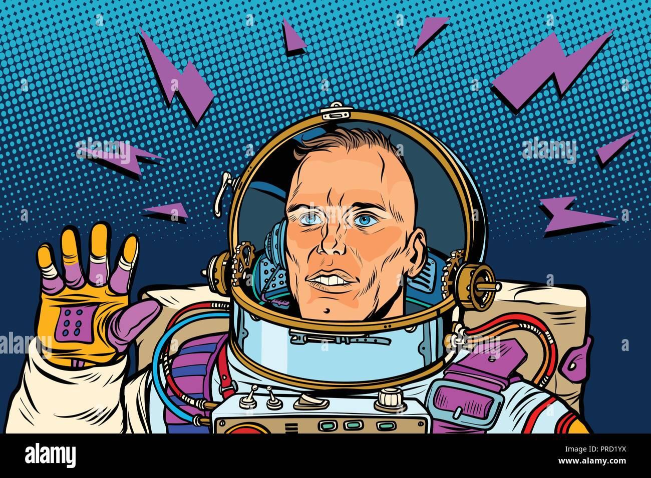 astronaut Hello gesture - Stock Vector