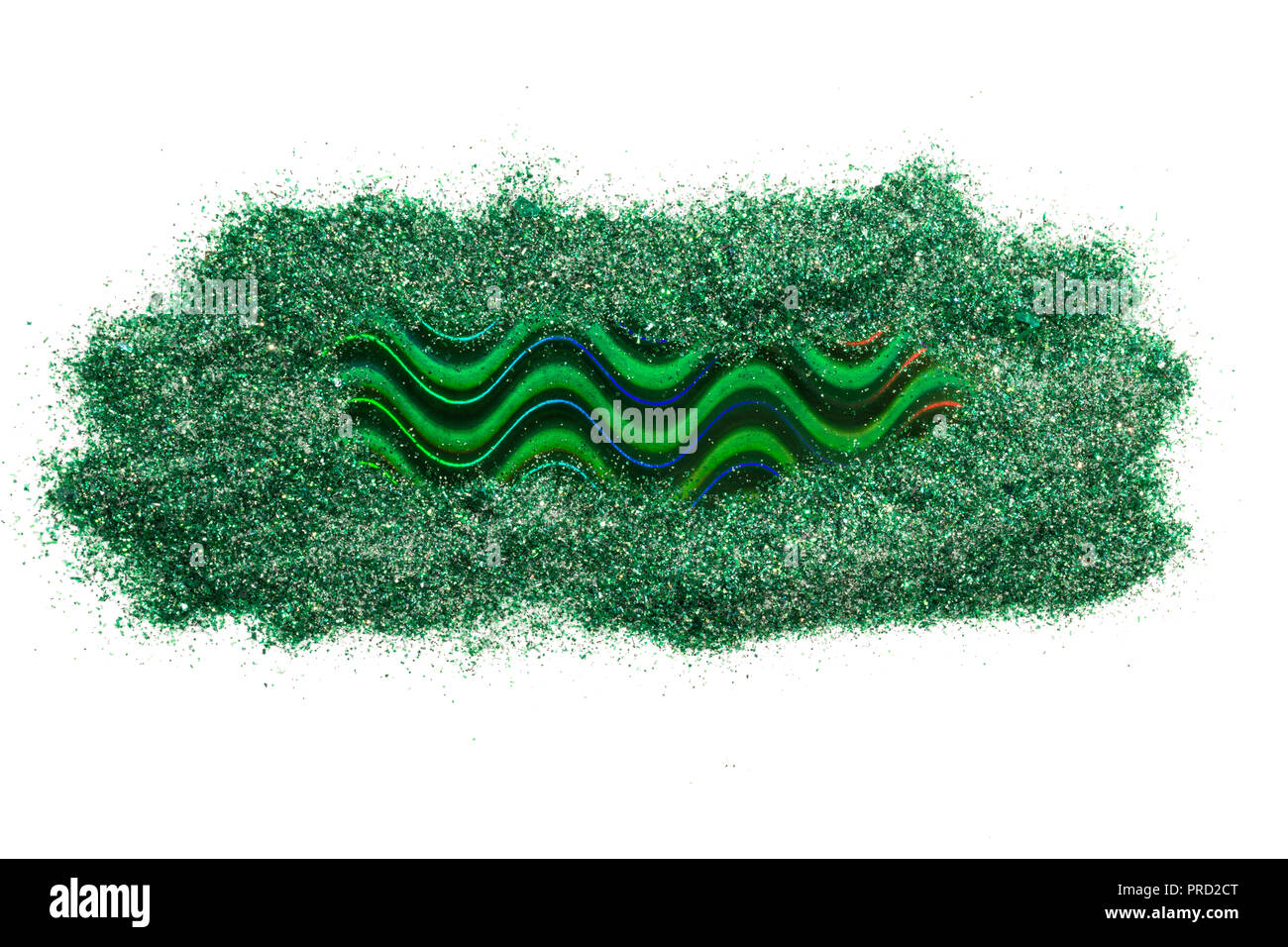 Holographic strip of green color, isolated on white background. Frame for text. - Stock Image