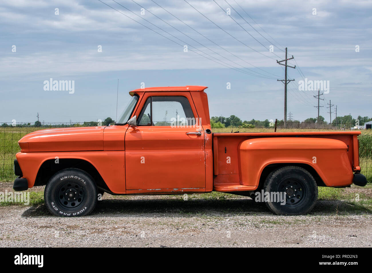 Classic pickup truck at Country Classic Cars LLC car dealership on Route 66, Staunton, Illinois, USA. Stock Photo