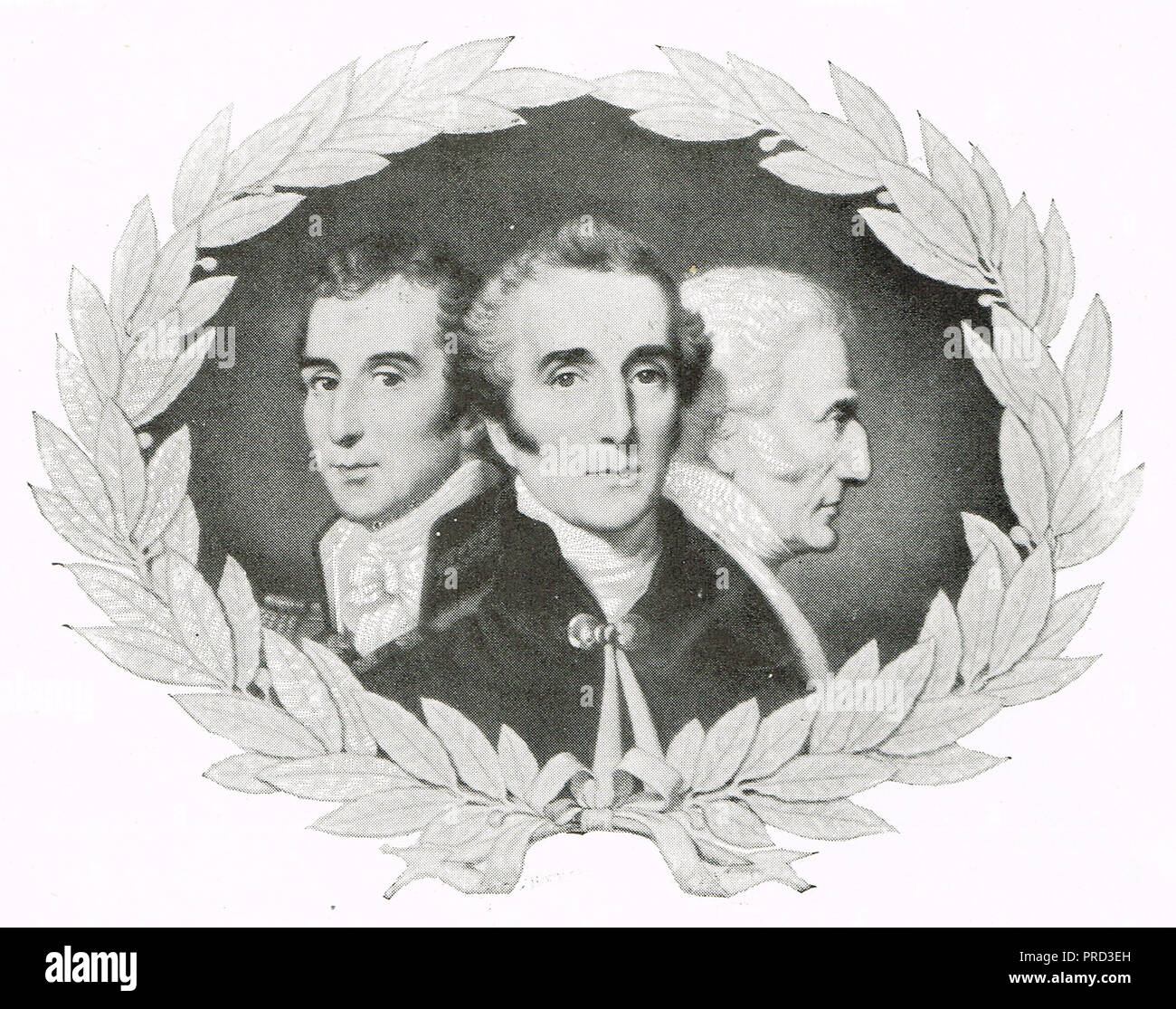 Three stages in the life of the Duke of Wellington. India, the Peninsular war, and the house of Lords - Stock Image