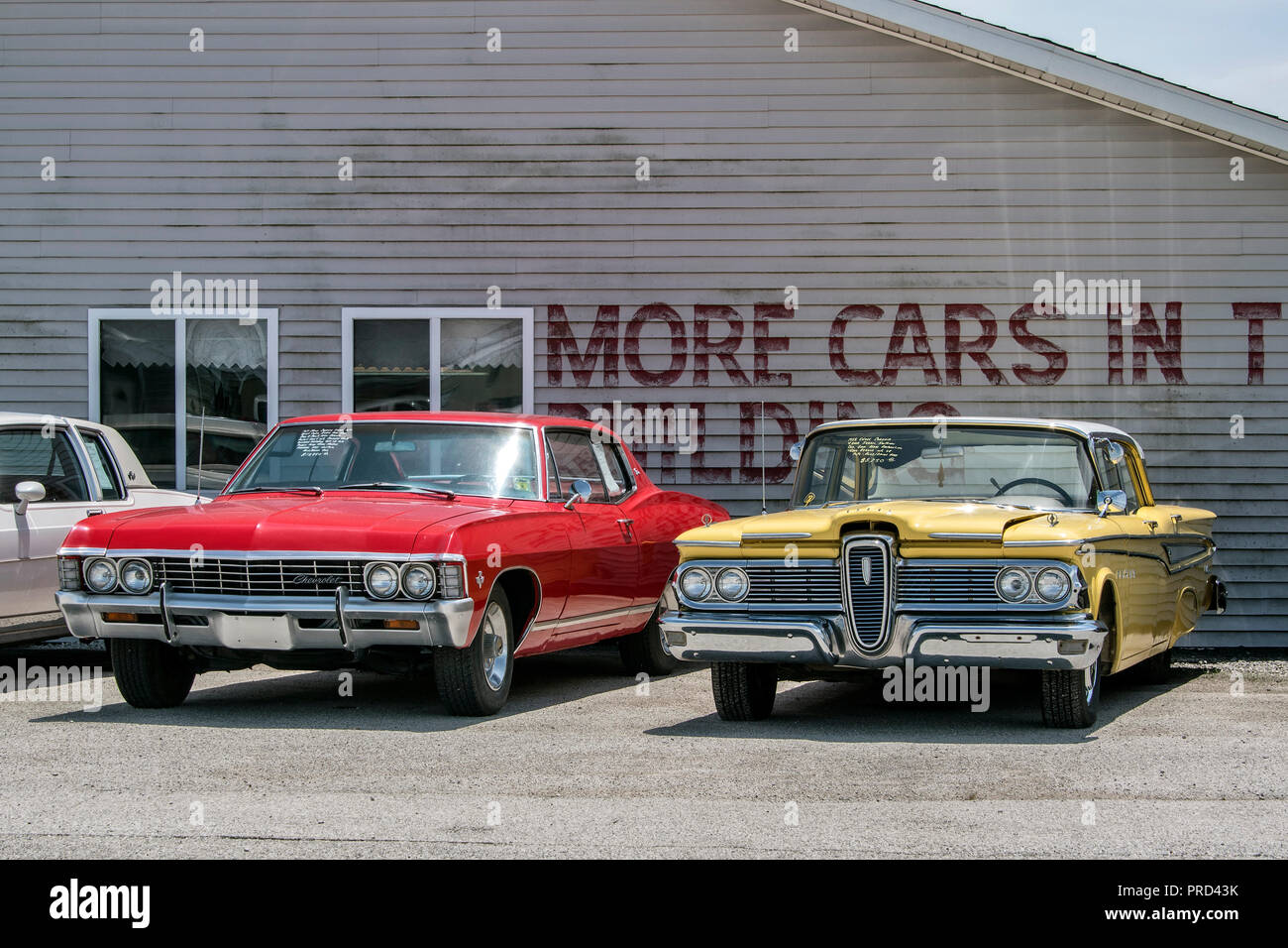 Chevrolet Route 66 Stock Photos Images 1966 Bel Air Rear View Ford Edsel And At Country Classic Cars Llc Car Dealership On Staunton
