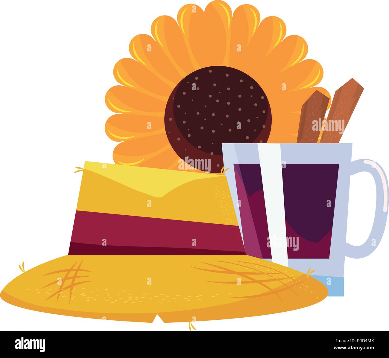 straw hat sunflower and cinnamon drink vector illustration - Stock Vector