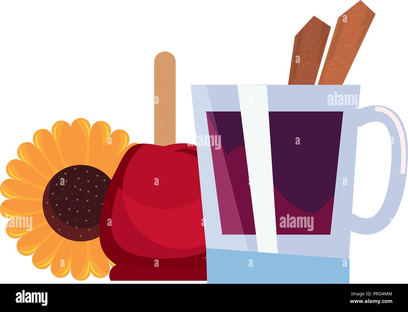 candy apple sunflower and cinnamon drink vector illustration - Stock Vector