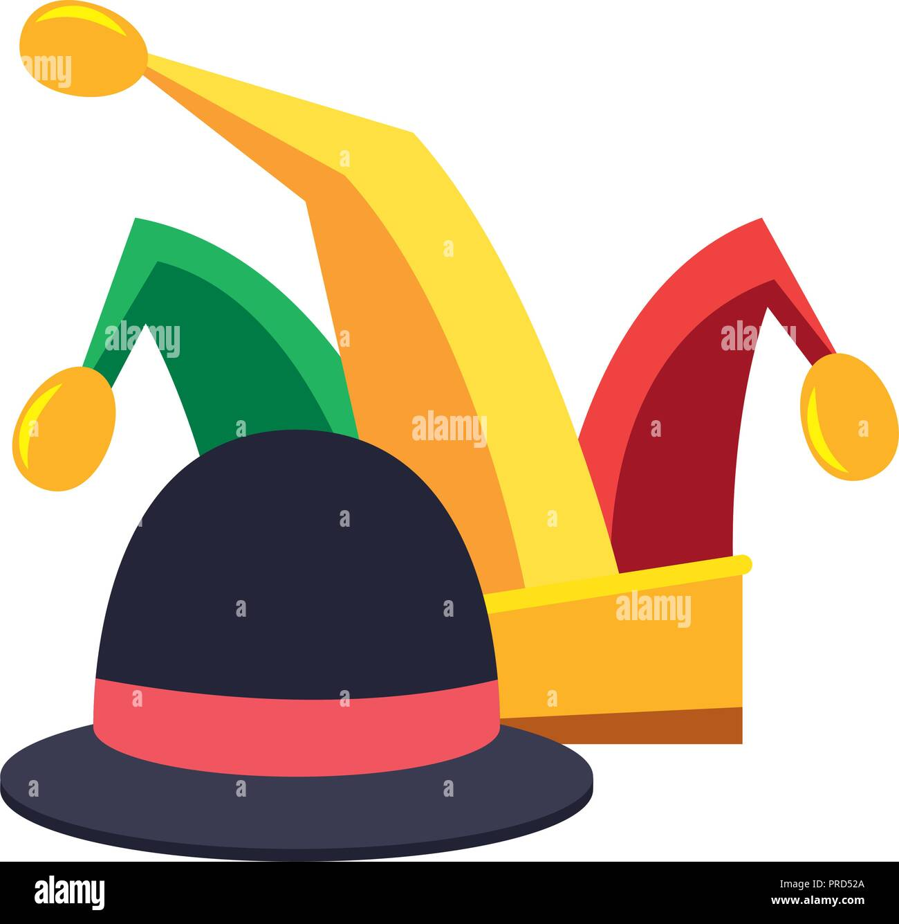 cb4c85abe3031 jester hat and classic bowler carnival festival vector illustration - Stock  Image