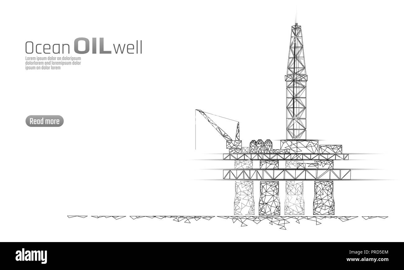 Ocean oil gas drilling rig low poly business concept. Finance economy polygonal petrol production. Petroleum fuel industry offshore extraction derricks line connection dots white vector illustration - Stock Vector