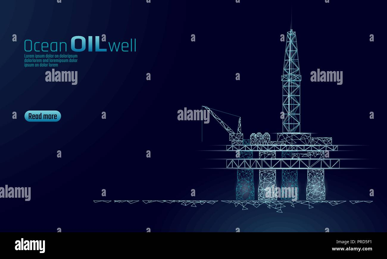 Ocean oil gas drilling rig low poly business concept. Finance economy polygonal petrol production. Petroleum fuel industry offshore extraction derricks line connection dots blue vector illustration - Stock Vector