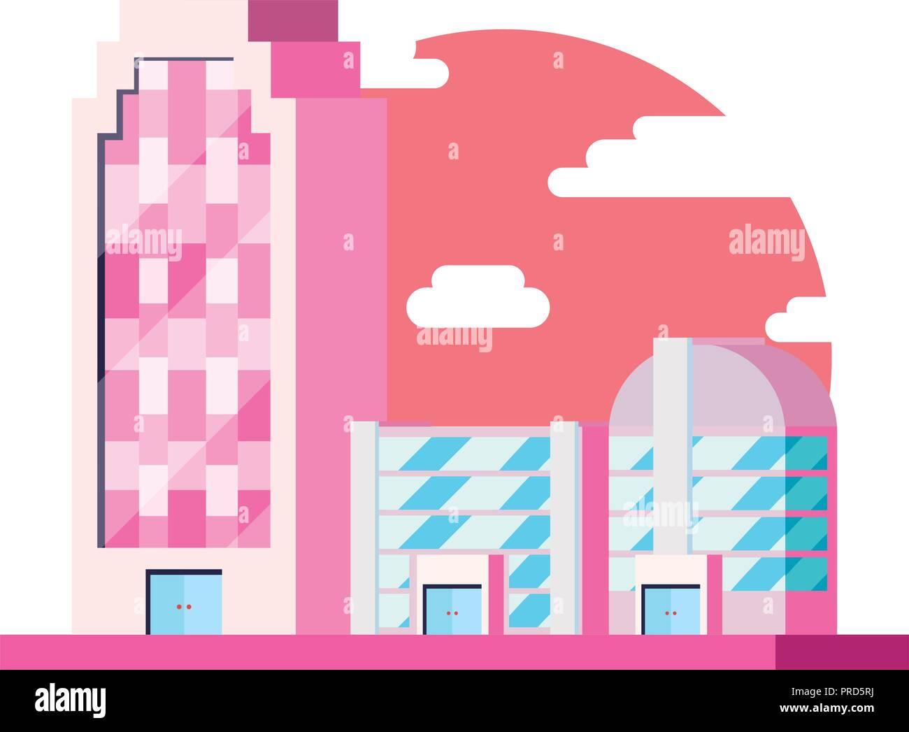 city bulding futuristic architecture design vector illustration - Stock Image