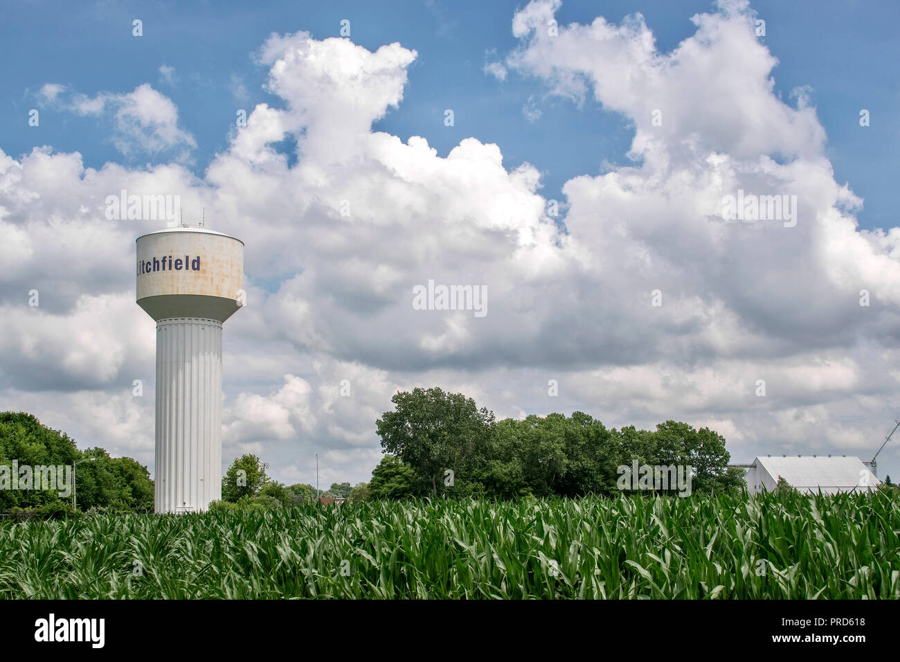 Water tower in a cornfield on historic Route 66, Litchfield, Illinois, USA - Stock Image