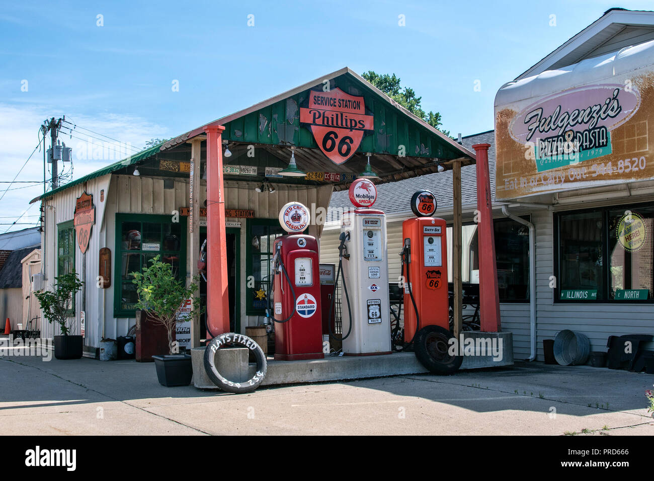 historic shea´s gas station museum, next to fulgenzi´s pizza & pasta