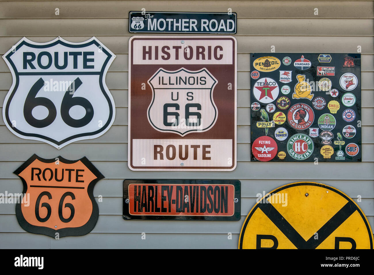 Signs at historic Shea´s Gas Station on Route 66, Springfield, Illinois, USA. Stock Photo