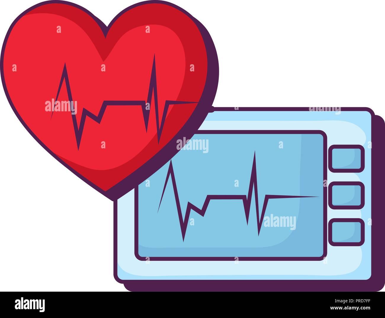 heart cardiology with ekg machine vector illustration design Stock Vector
