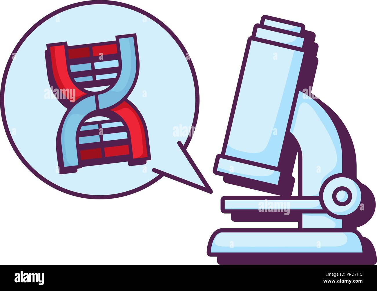 microscope lab with dna molecule vector illustration design - Stock Image