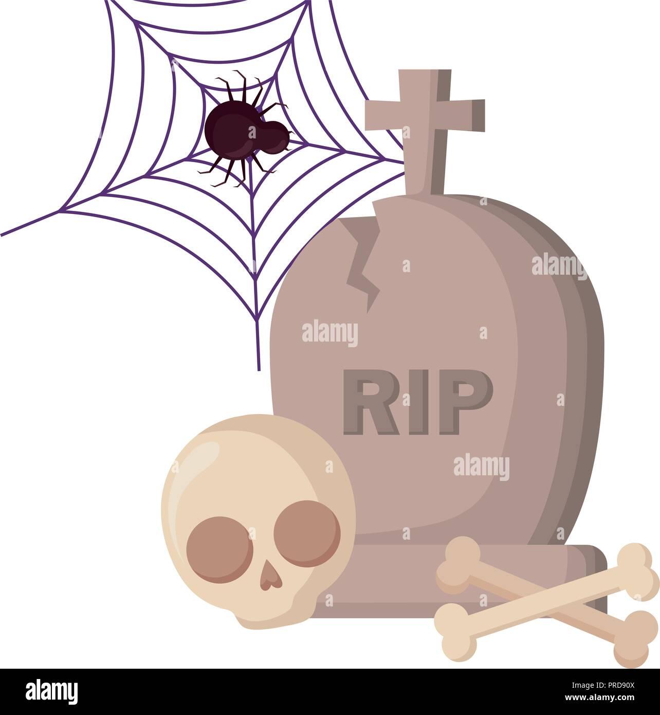 halloween gravestone spider and skull vector illustration design - Stock Image