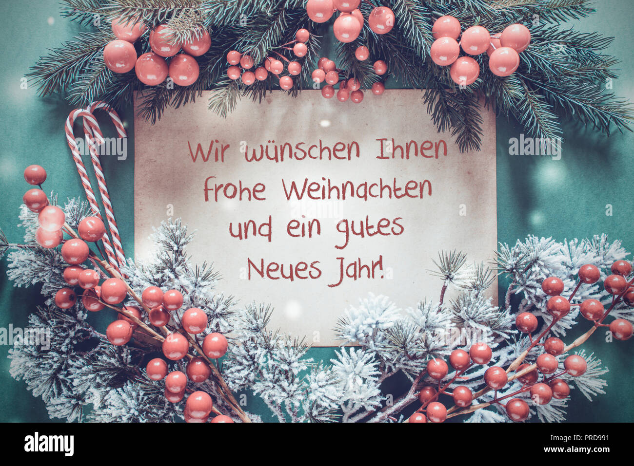 Christmas Garland, Gutes Neues Jahr Means Happy New Year Stock Photo ...