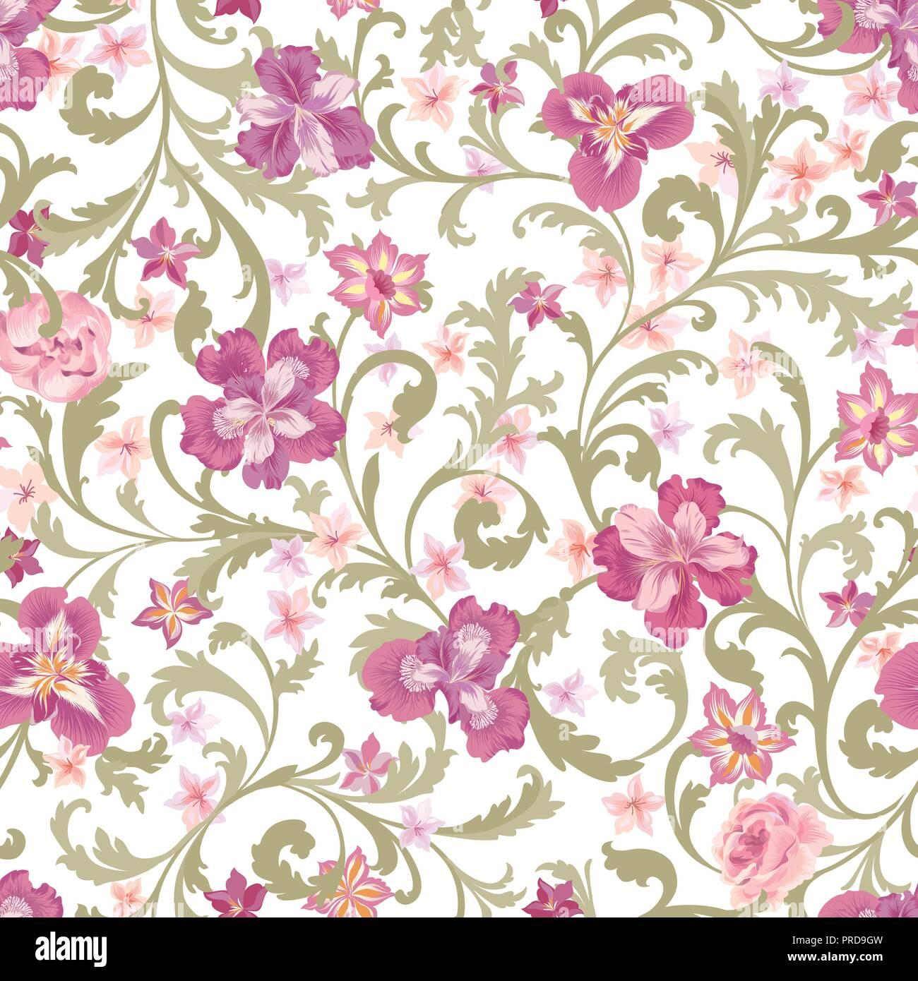 Floral Seamless Pattern Flower Background Flourish Garden