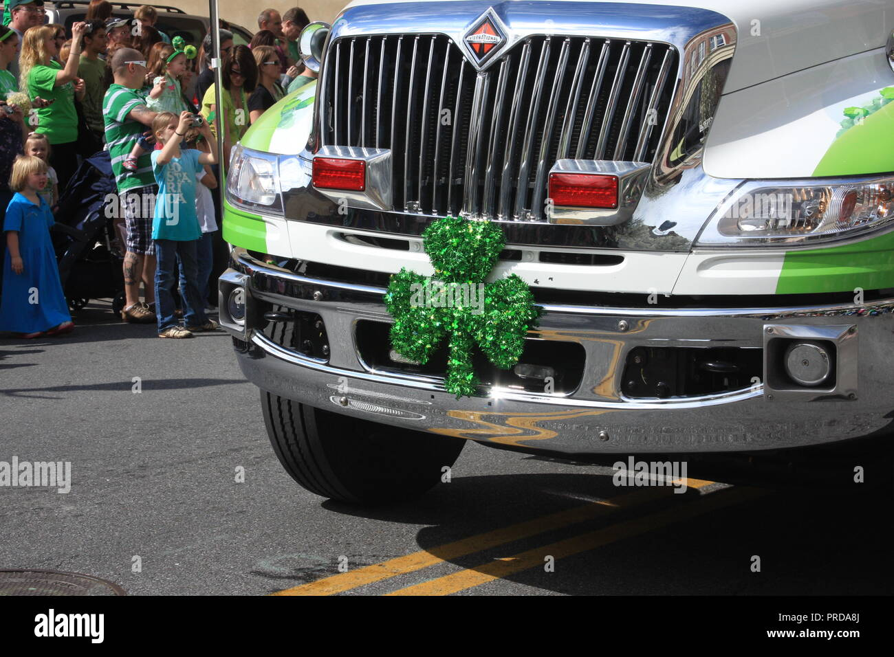 Shamrock Decorating Truck On St Patrick S Day Parade In Roanoke