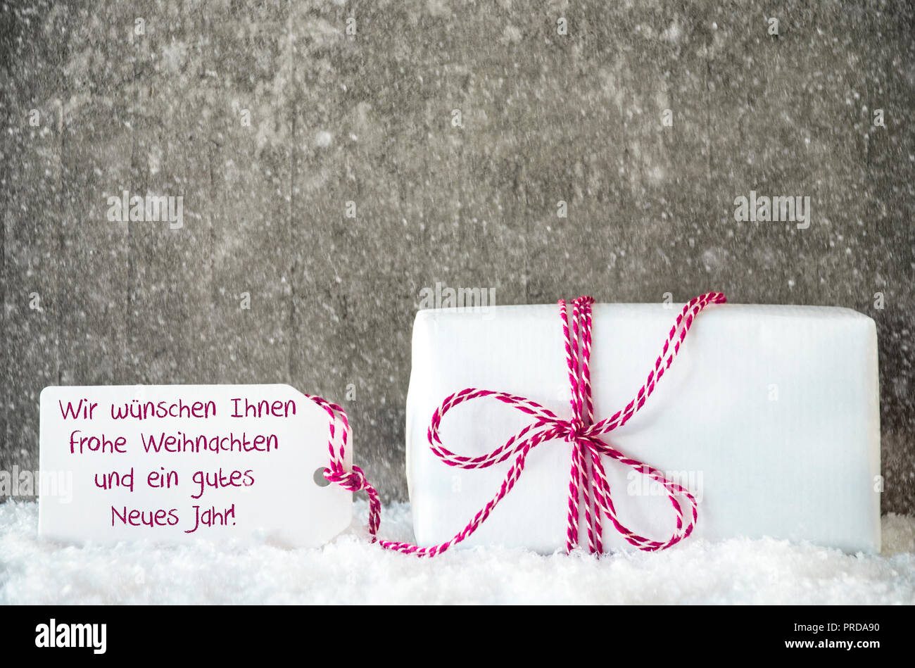 White Gift, Snowflakes, Label, Gutes Neues Means Happy New Year ...
