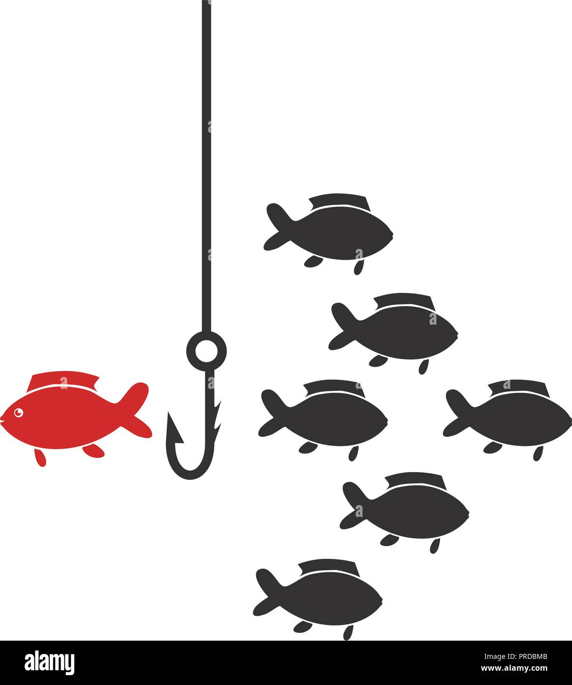 shoal fish with hook icon vector illustration design - Stock Image