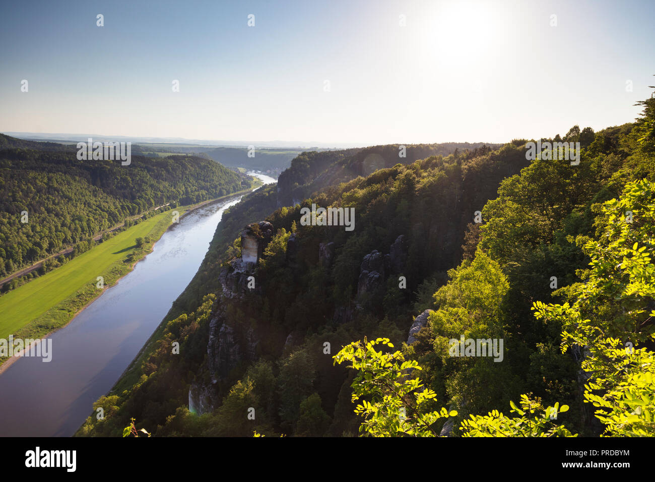 Europe, Germany, Saxony, Saxon Switzerland National Park, river Elbe - Stock Image