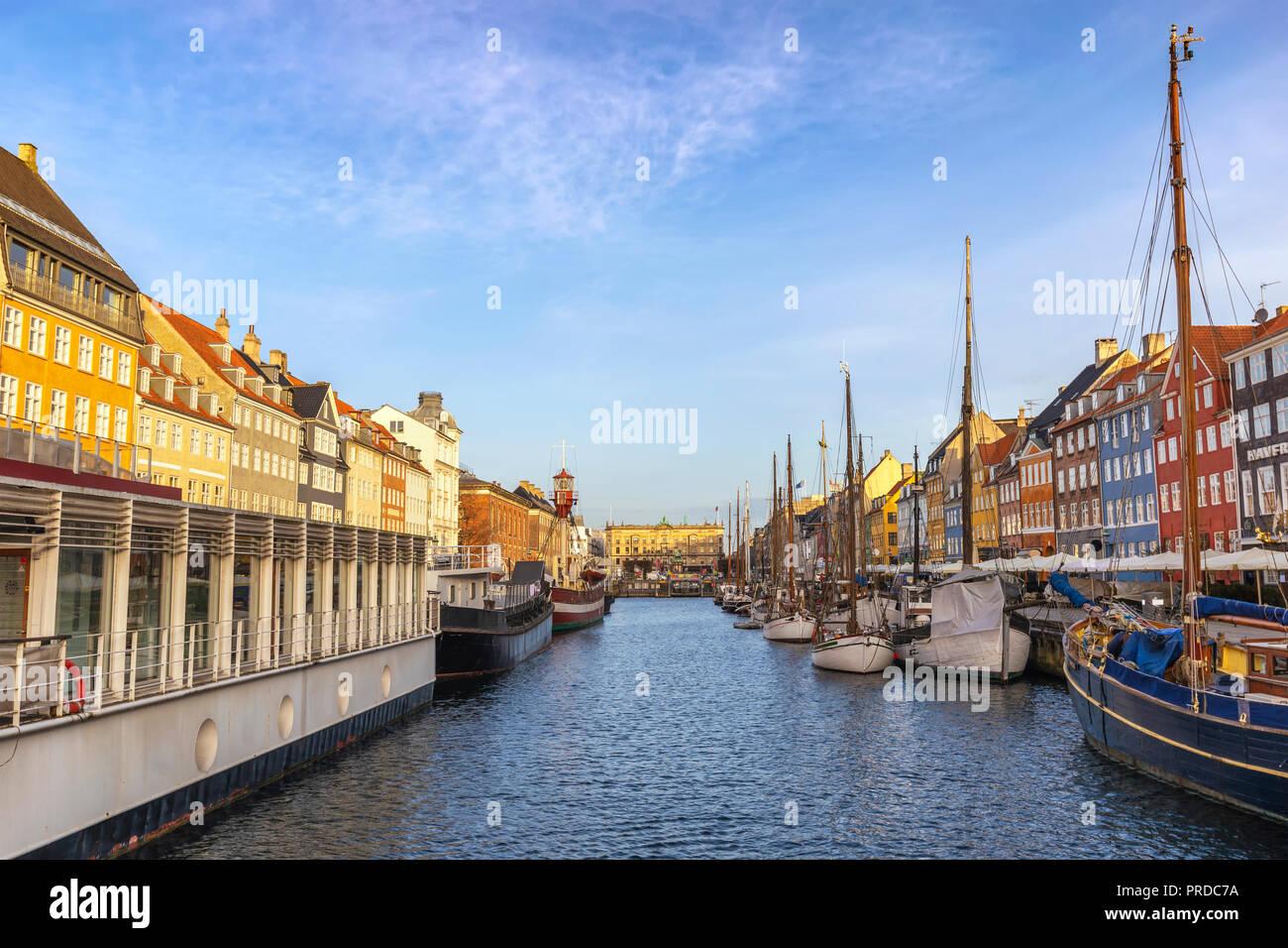 Copenhagen Denmark, city skyline at Nyhavn harbour - Stock Image