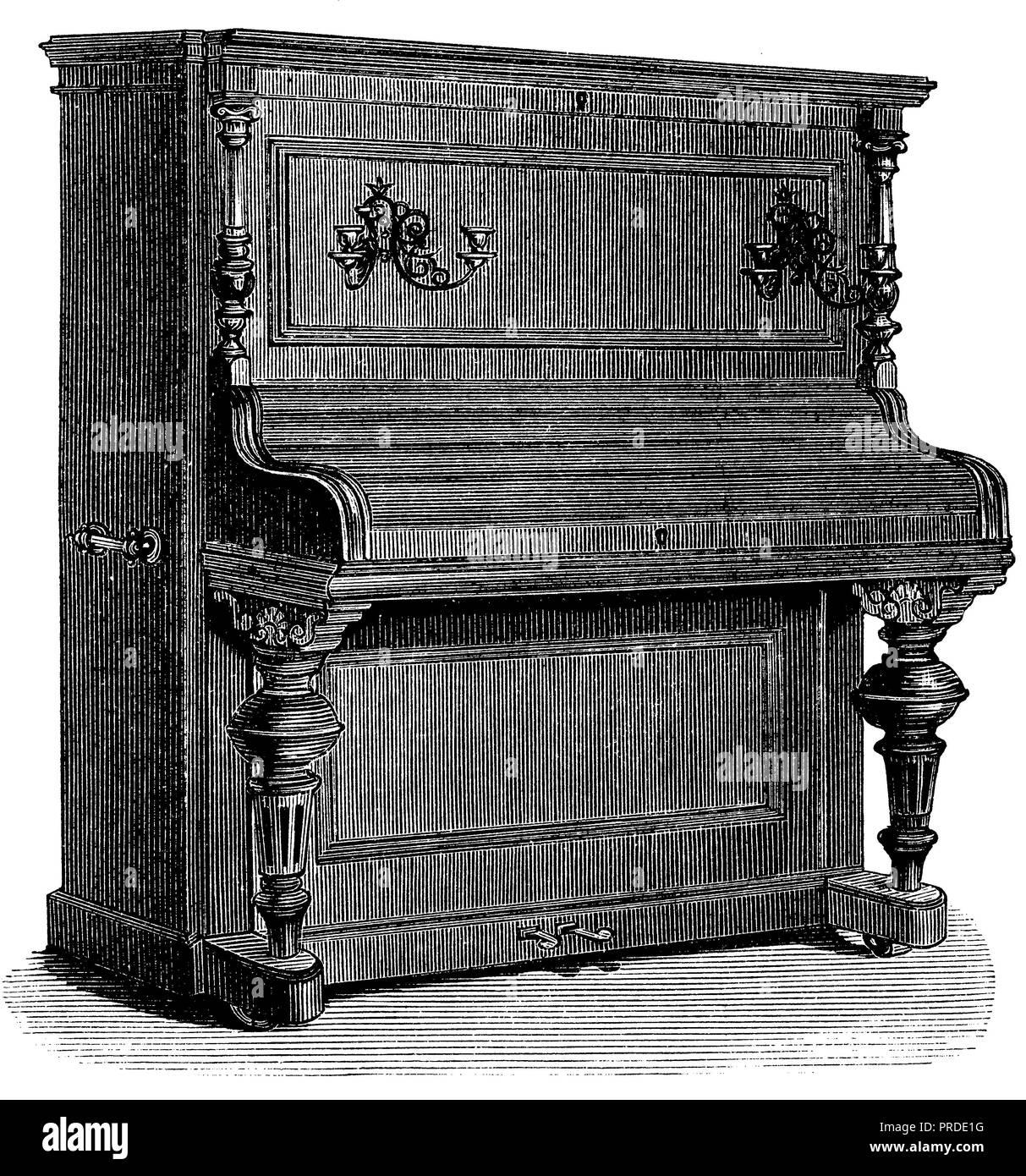 pianino, anonym  1890 - Stock Image