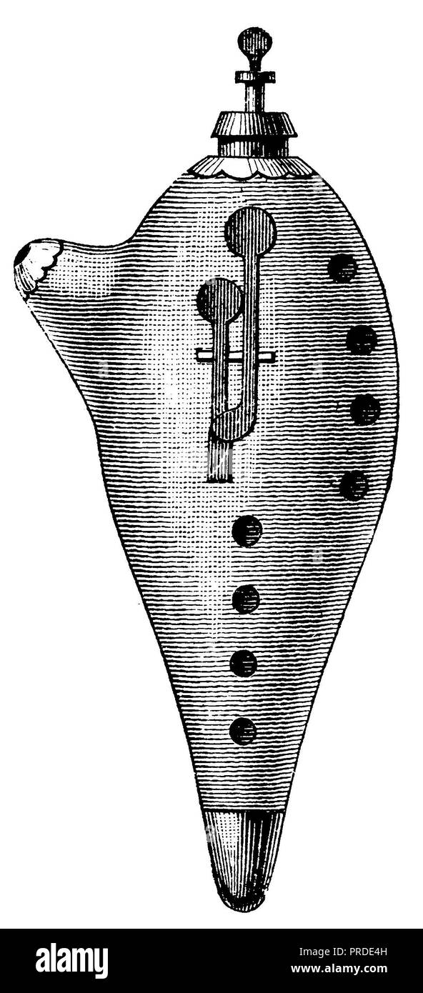 Ocarina with eight tone holes, two flaps and tuning train, anonym  1890 - Stock Image