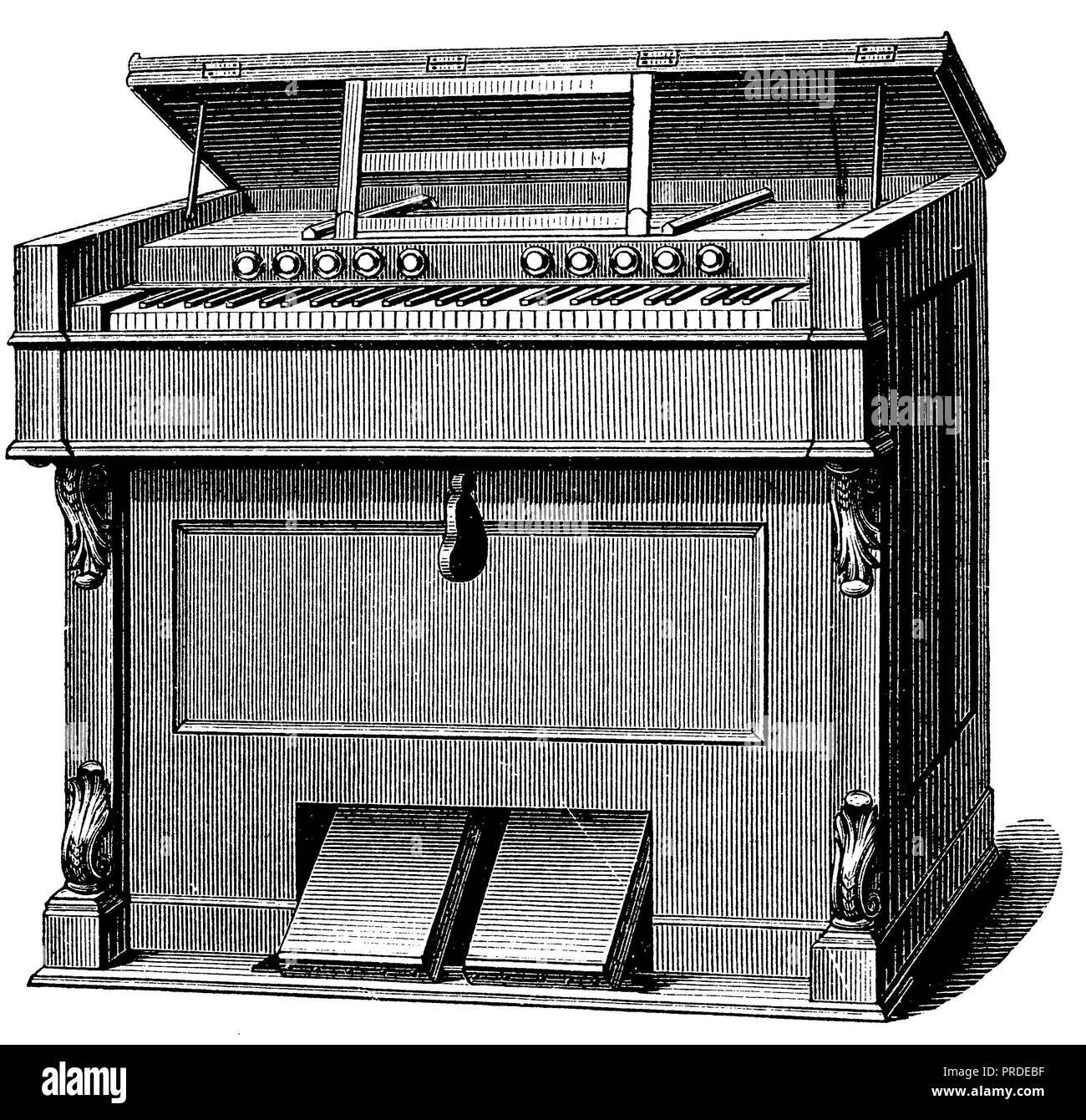 harmonium, anonym  1890 - Stock Image