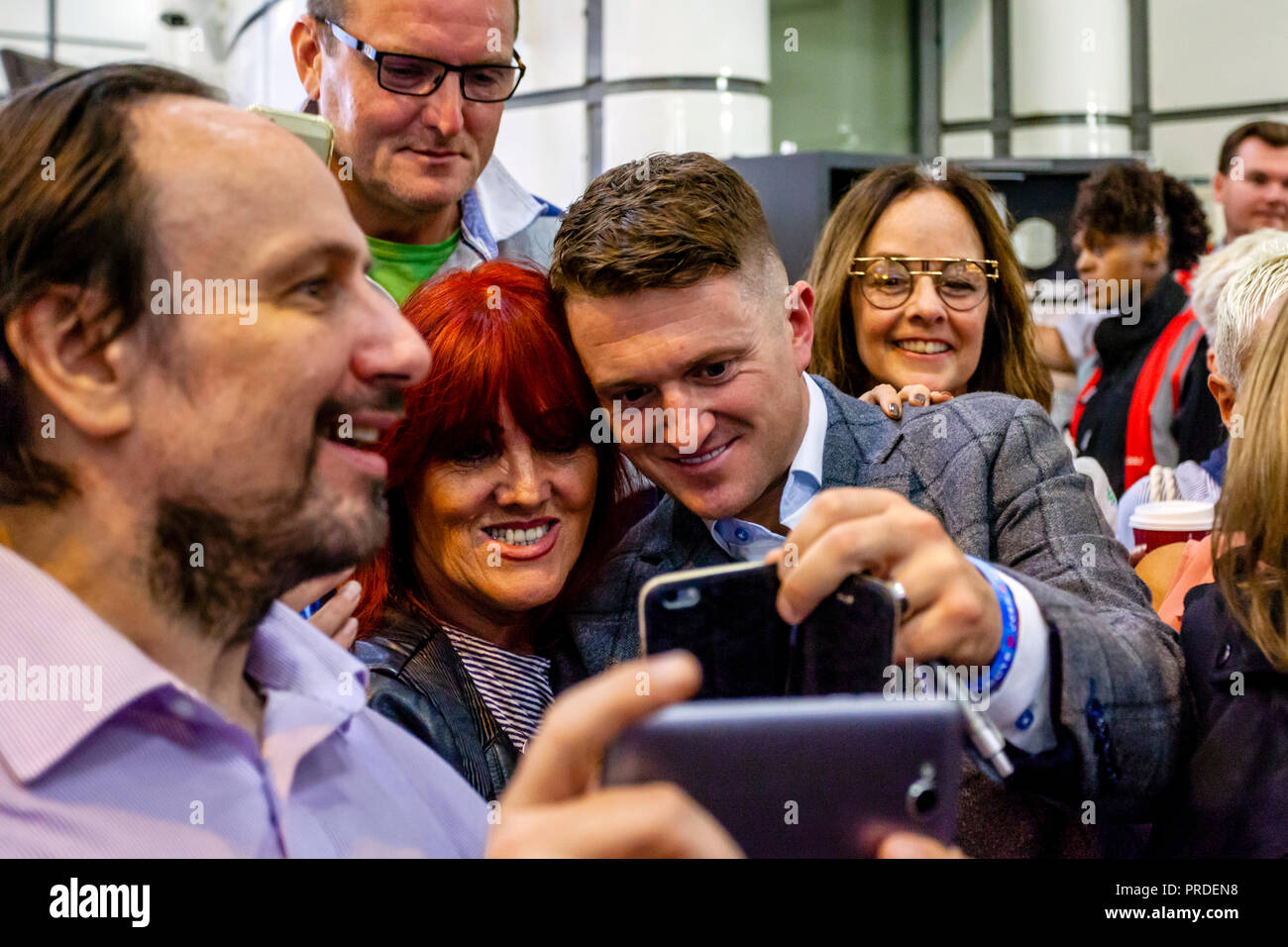 Right Wing Activist Tommy Robinson Poses For Selfies With His Supporters After His Contempt Of Court Charge At The Old Bailey Is Adjourned, London, UK - Stock Image