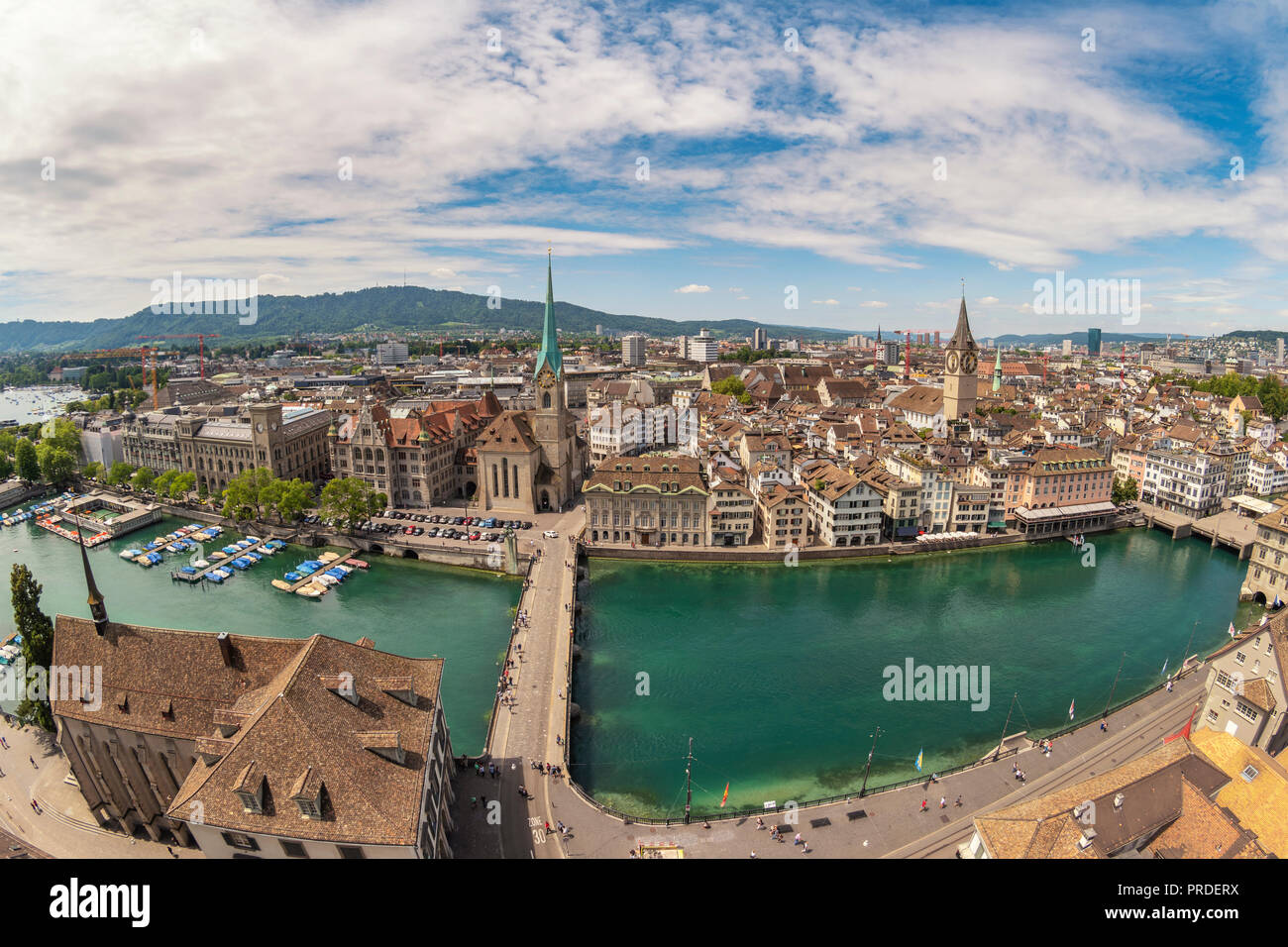 Zurich Switzerland, aerial view city skyline from Grossmunster - Stock Image