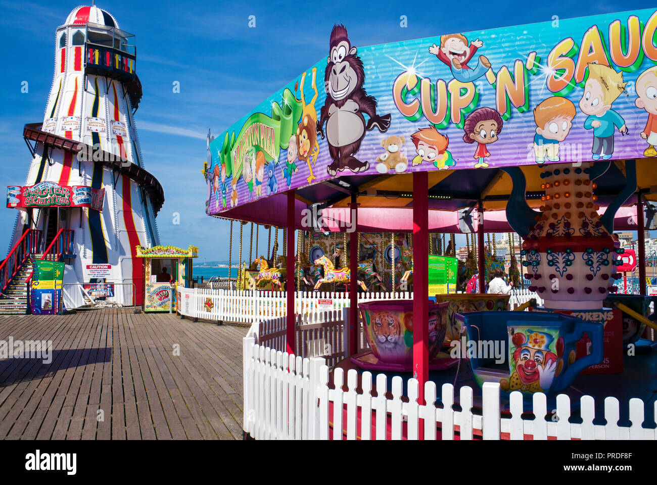 Helter skelter' on Brighton palace pier amusement area Stock Photo