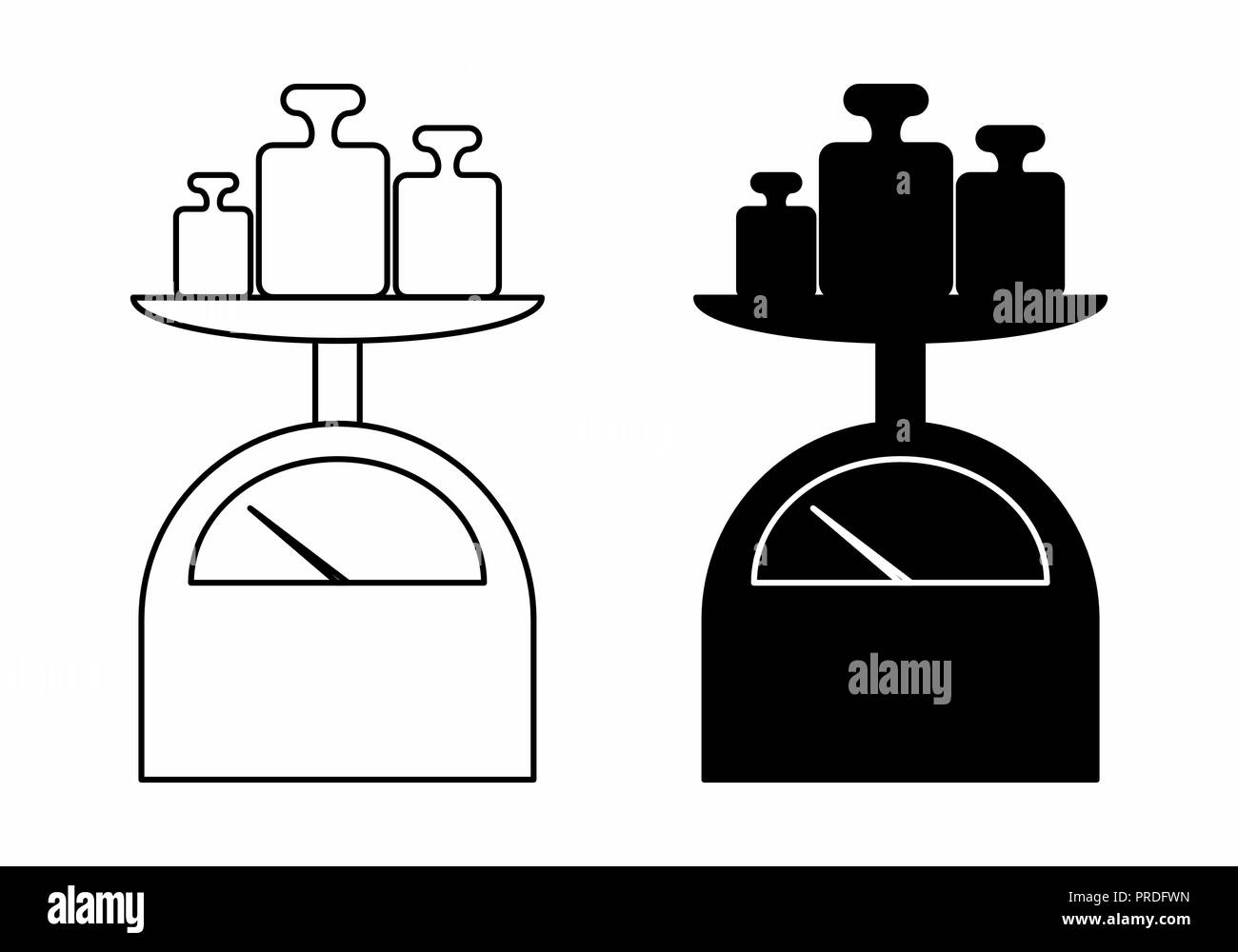 Black and white illustration of mechanical scales with weights - Stock Vector