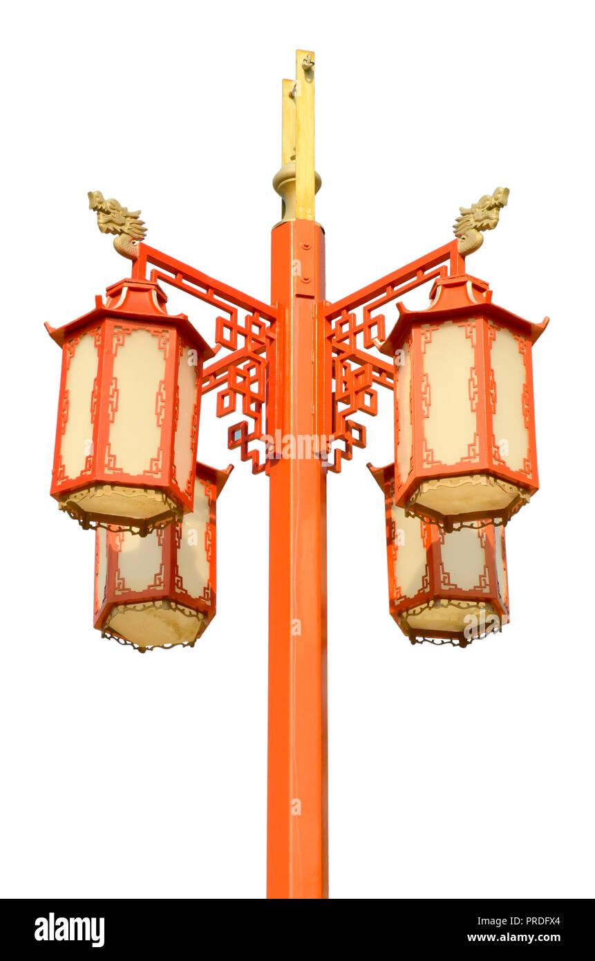 chinese street lamp isolated on white background - Stock Image