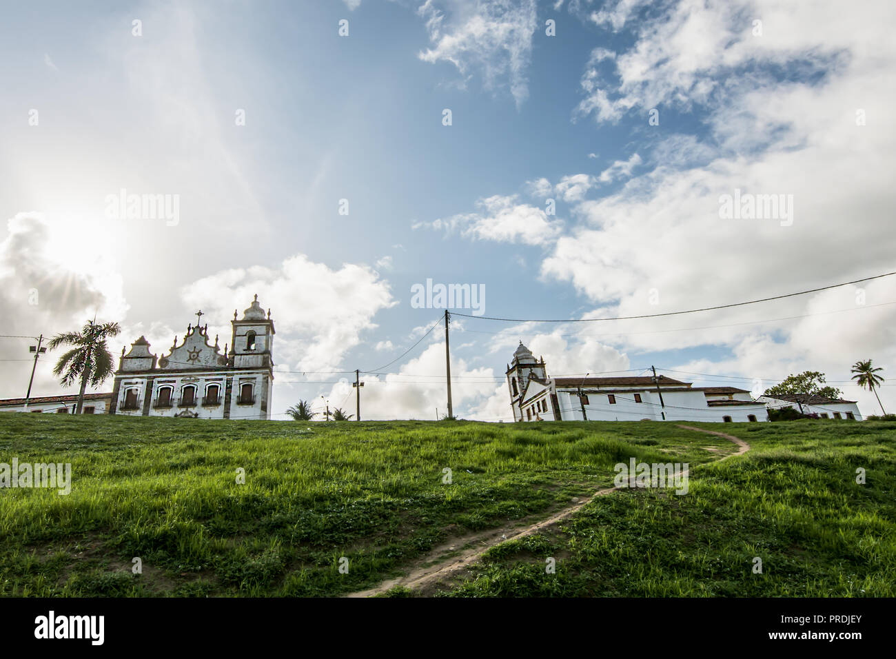 The Church of Saints Cosme and Damião (1535) and the Ensemble of the Sacred Heart of Jesus, Igarassu, Pernambuco, Brazil - Stock Image