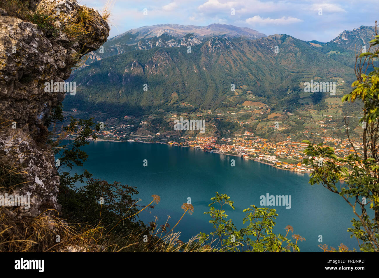 View from the island Monte Isola on Lake Iseo and Kommunu Sale Marazino. Italy - Stock Image
