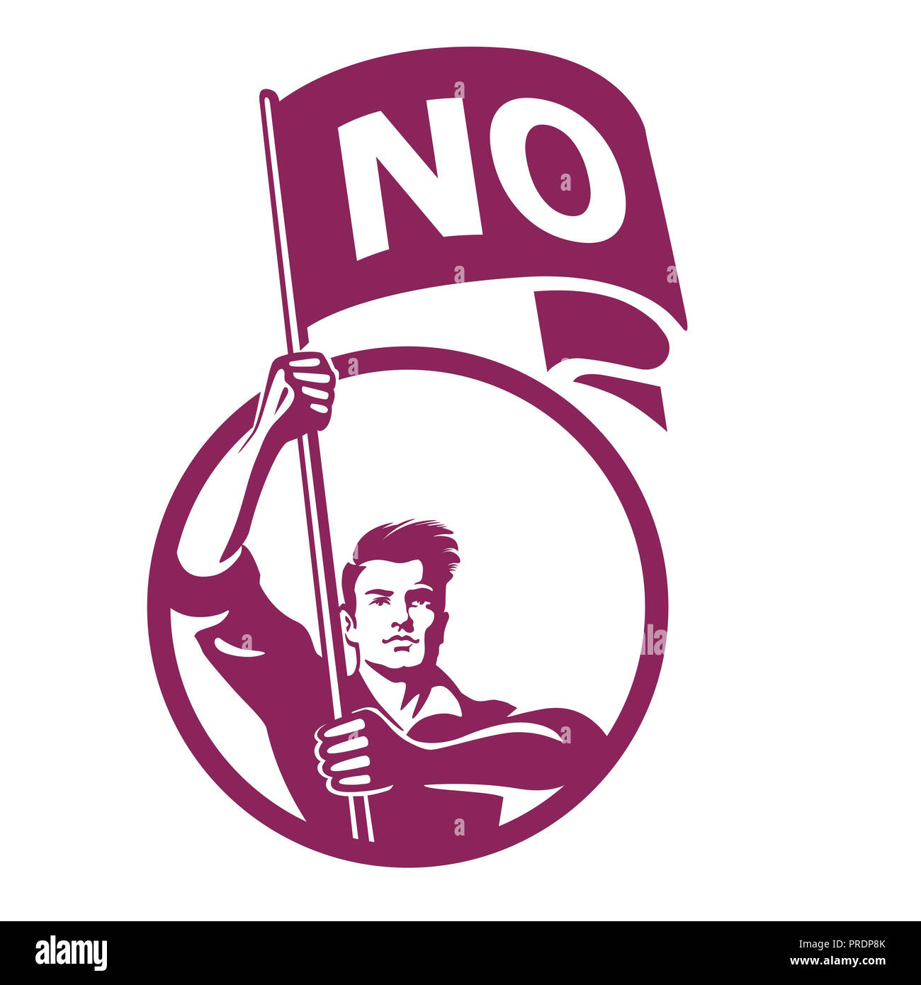 Man holding banner with word No - Stock Image