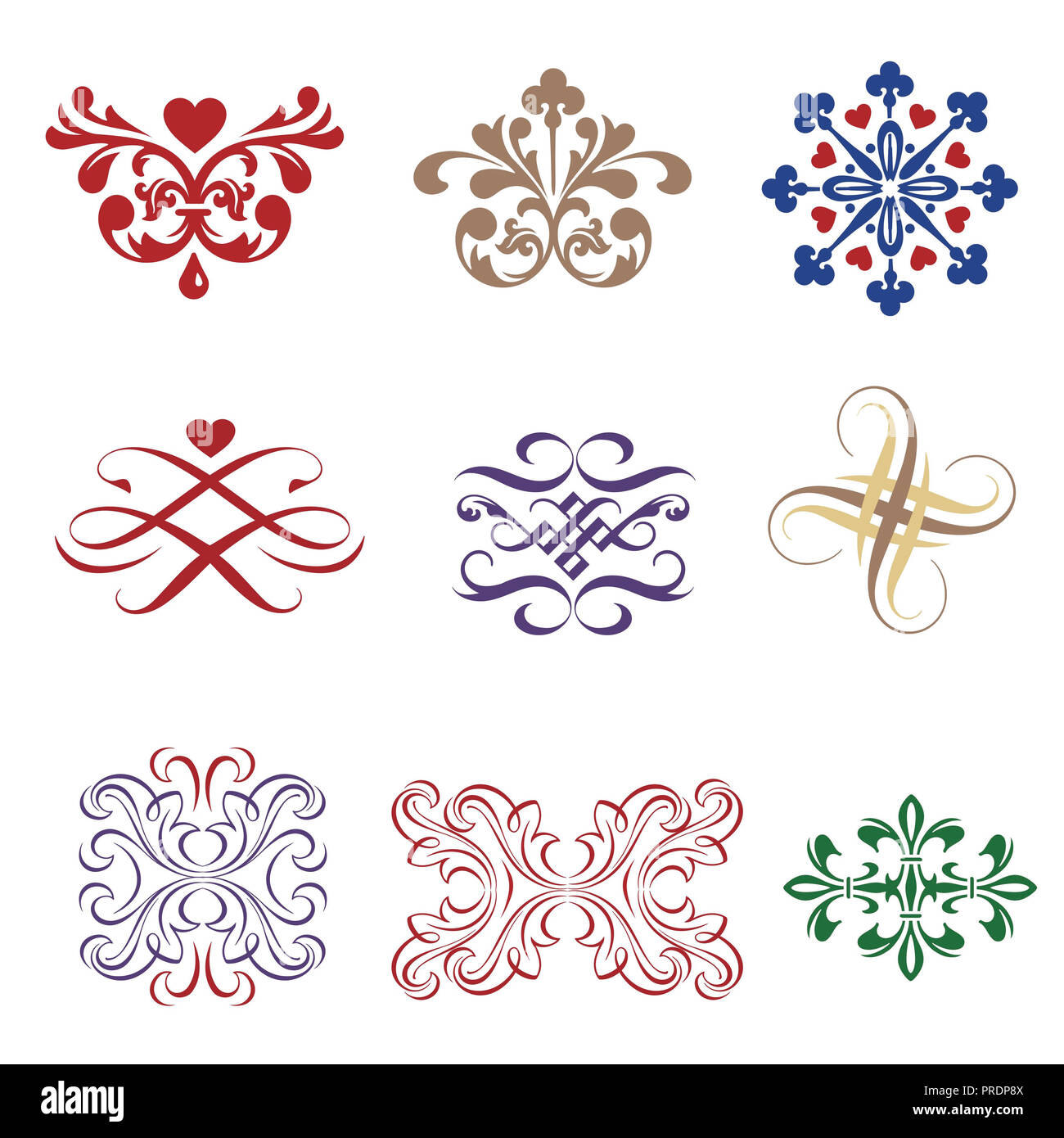 Assorted ornaments on white background - Stock Image