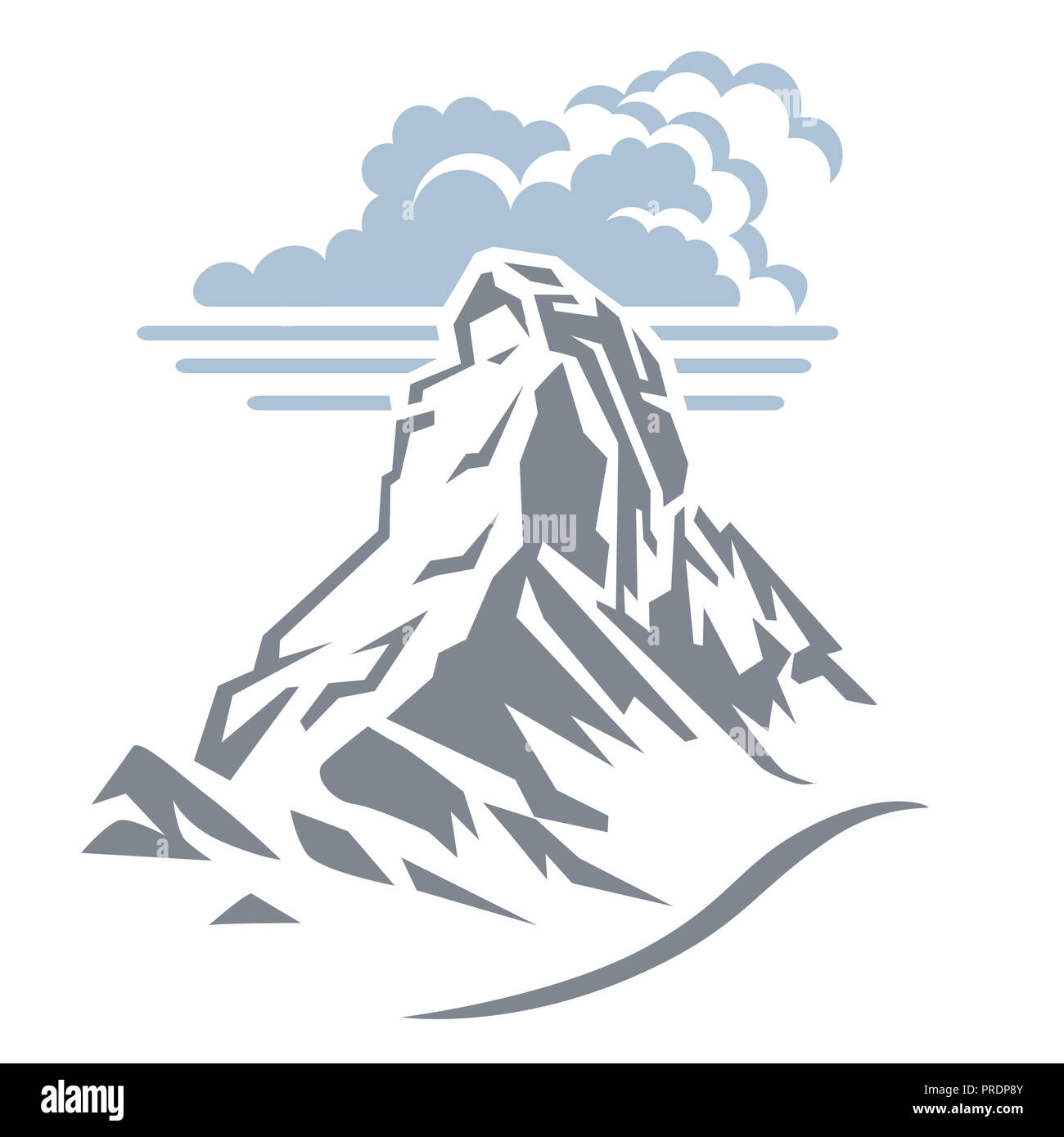 Clouds over mountain peak - Stock Image