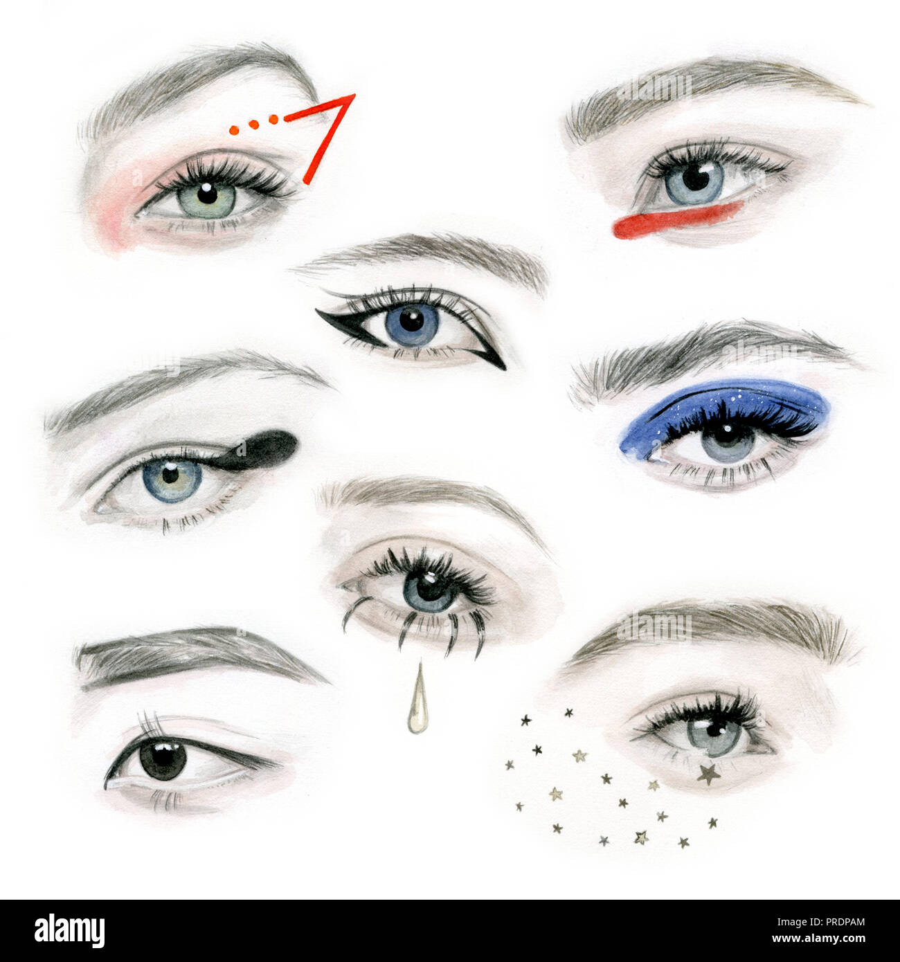 Different eye make-ups - Stock Image