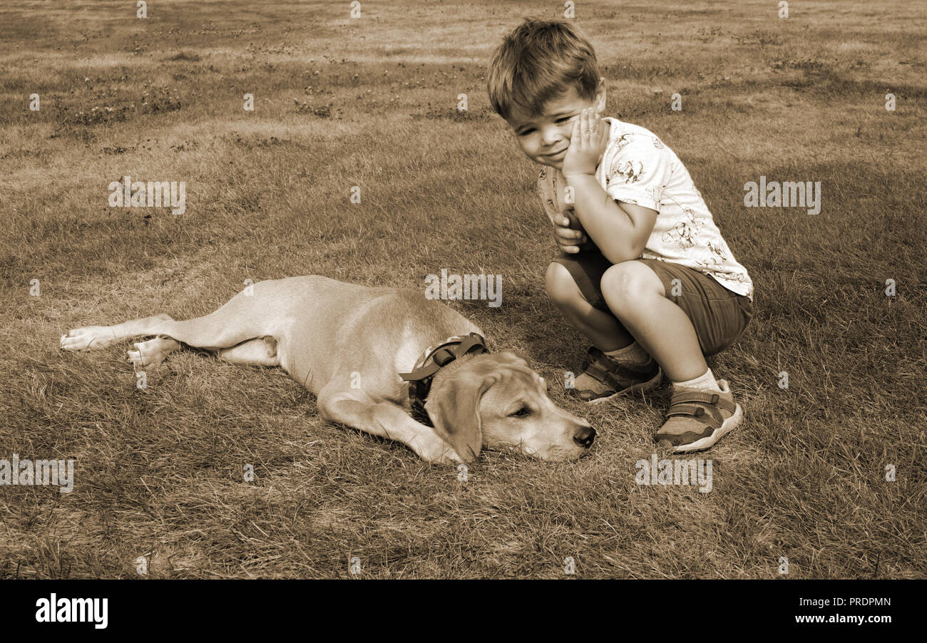 The Boy of 4 Years sitting on Grass with the Puppy Dog. The Child propped his Hand with his Face. His pet lies next to the owner and looks thoughtfull - Stock Image