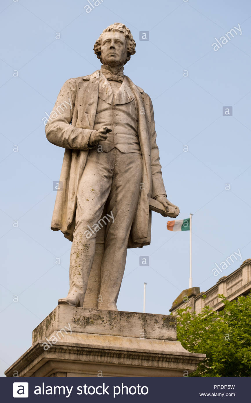 Memorial statue of Sir John Gray Knt MD JP, O'Connell Street, North City, Dublin, Leinster, Ireland Stock Photo