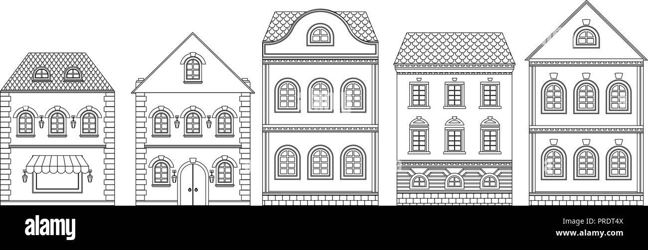 Buildings. Old european houses - Stock Vector