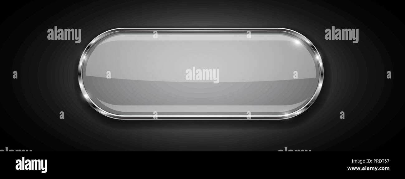 White glass oval button with chrome frame  3d sign on black