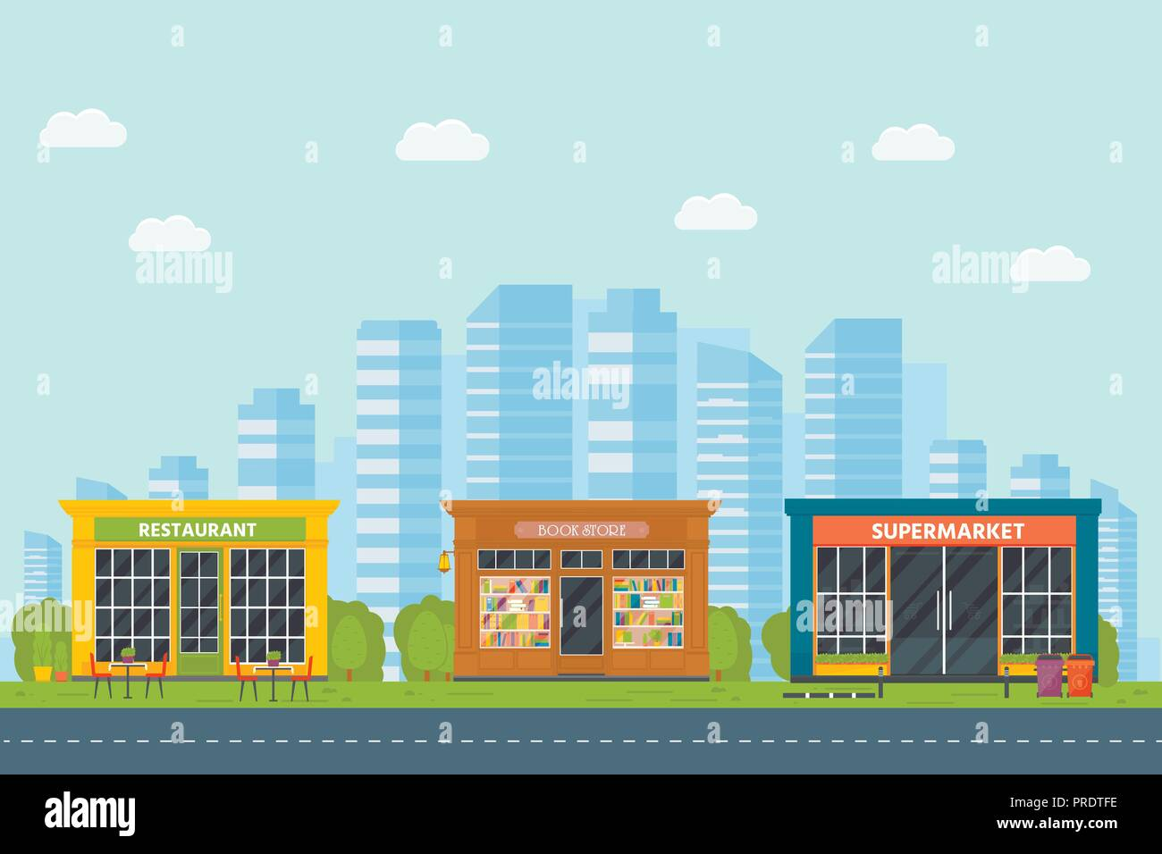 Set Of Vector Flat Design Restaurants Exterior And Shops Facade Book Store Supermarket Store Front Window Buildings Icons With City Background Stock Vector Image Art Alamy