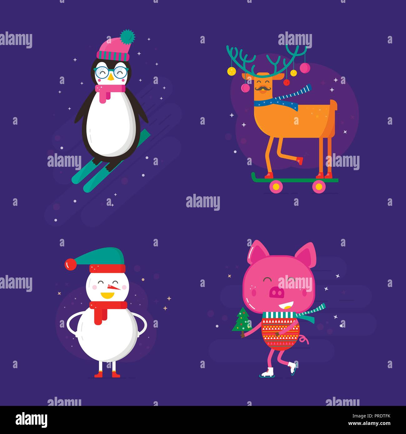 Merry Christmas Greeting Card With Cute Animals Pig Reindeer