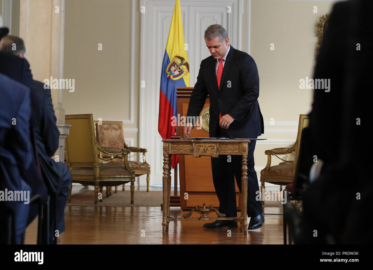 Colombian President Ivan Duque attends to the signing of a decree to authorize Police to confiscate personal amount of drugs or forbidden substances, in Bogota, Colombia, on 1 October 2018. EFE/Mauricio Dueñas Castañeda - Stock Image