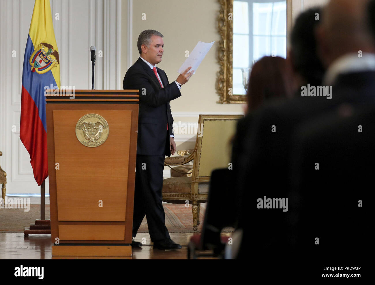 Colombian President Ivan Duque offers a press conference after signs of a decree to authorize Police to confiscate personal amount of drugs or forbidden substances, in Bogota, Colombia, on 1 October 2018. EFE/Mauricio Dueñas Castañeda - Stock Image