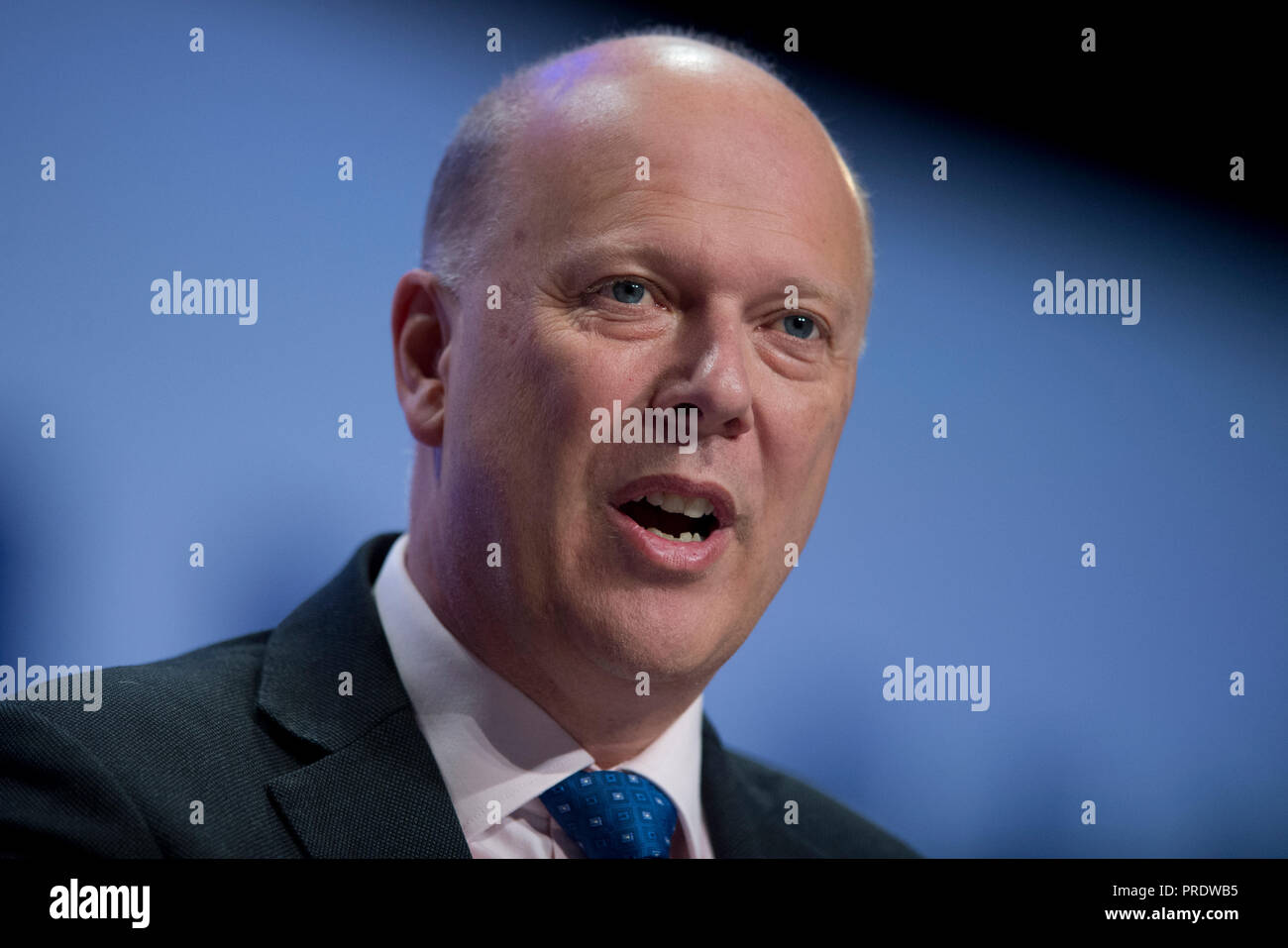 Birmingham, UK. 1st October 2018. Chris Grayling, Secretary of State for Transport and Conservative MP for Epsom and Ewell, speaks at the Conservative Party Conference in Birmingham. © Russell Hart/Alamy Live News. - Stock Image