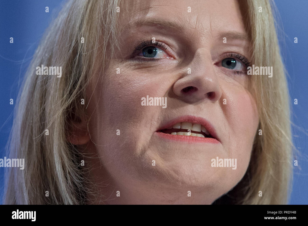 Birmingham, UK. 1st October 2018. Liz Truss, Chief Secretary to the Treasury and Conservative MP for South West Norfolk, speaks at the Conservative Party Conference in Birmingham. © Russell Hart/Alamy Live News. - Stock Image